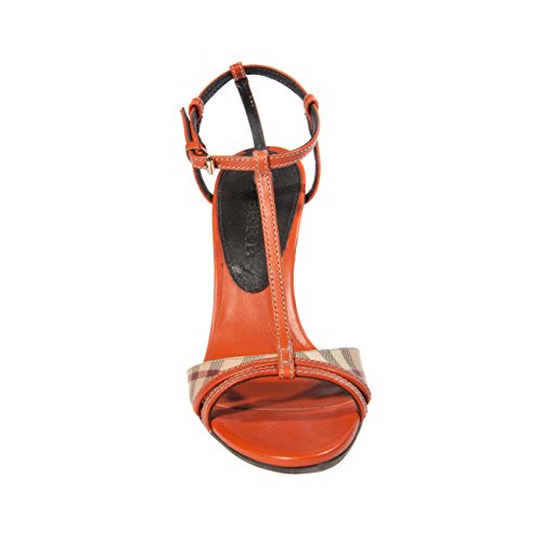 Damen Burberry Haymarket Putney Wig Oranje Sandalen 38