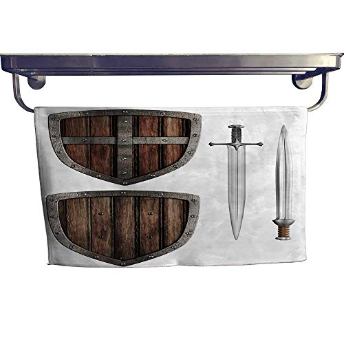 - Beach Towel, Old Wooden Medieval knight's Shield and Swords Set Isolated on White,Luxury Towels Highly Absorbent Extra Soft W 35.5