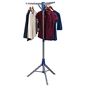 Household Essentials 5009-1 Collapsible Portable Indoor Tripod Clothes Drying Rack for Hanging Laundry | Silver and Blue
