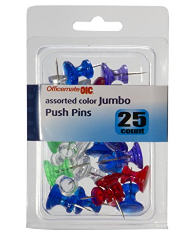 Officemate OIC Jumbo Push Pins, Assorted Colors, 25 Pack (92613)