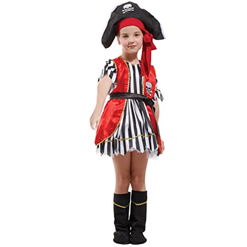 Spooktacular Girls' Red Pirate Costume Set with Dress and Hat, L