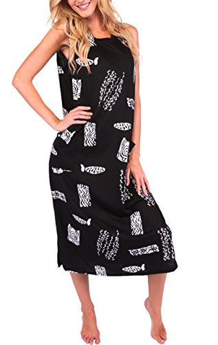 Ingear Long Cotton Dress Casual Beach Summer Tank Print Plus Size Cover Up (3X Plus, Black)