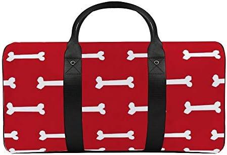 ボーンレッド1 旅行バッグナイロンハンドバッグ大容量軽量多機能荷物ポーチフィットネスバッグユニセックス旅行ビジネス通勤旅行スーツケースポーチ収納バッグ