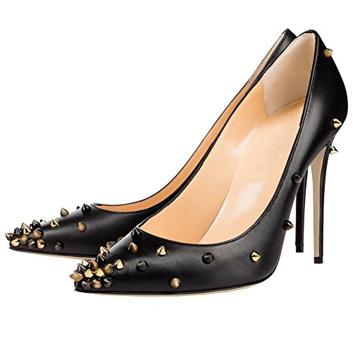 High Womens Heels Pump Toe Rivet Dress Stud Black AIWEIYi Shoes Matte 10cm On Slip Stilletto Pointed 8wAxwHRq