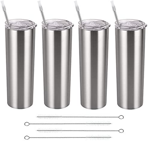 Stainless Steel Skinny Tumbler Set, Insulated Travel Tumbler with Closed Lid Straw, Skinny Insulated Tumbler, 20 Oz Slim Water Tumbler Cup for Coffee Water Hot Cold Drinks, Set of four, Silver