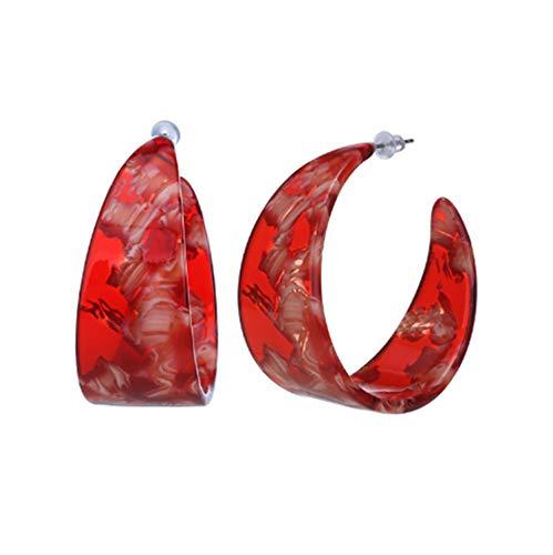 WYAQ Statement Mottled Acrylic Drop Dangle Earring Geometri Resin Hoop Lightweight Stud Boho Tortoise Shell Earrings for Women and Girls