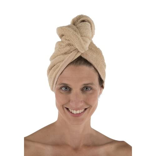 Women's Bamboo Viscose Hair Towel - Hair Drying Towel Wrap by Texere (Almond Buff, Unisize) Holiday Gift Ideas for Women AB0101-ABF-U