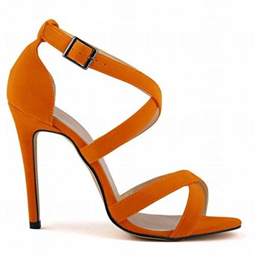 GRRONG Sandalias De La Mujer Sandalias Finas Con Punta Abierta Orange