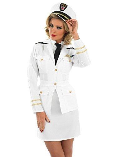 Ladies Sailor 1940s 40s White Naval Officer Pilot Military Uniform Fancy Dress Costume Outfit UK 8-26 Plus Size (UK 24-26) ()