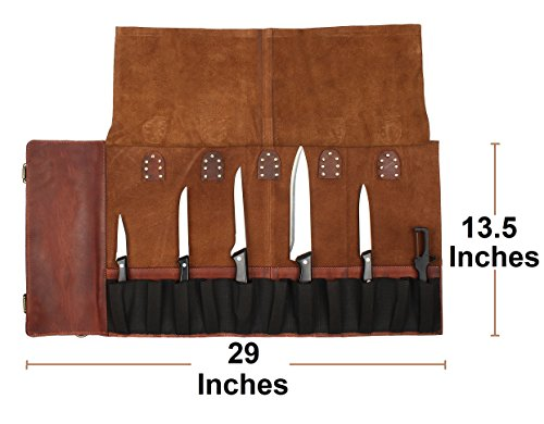 Genuine Leather Chef Knife Roll - All Purpose Chef Roll Up Kit - Portable Kitchen Knives Protector by Rustic Town (Image #2)