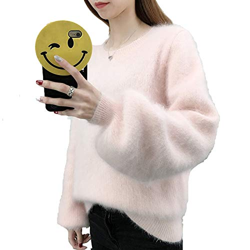 Women's Casual Color Loose Long Sleeve Pullover Sweaters Furry Lantern Sleeves -