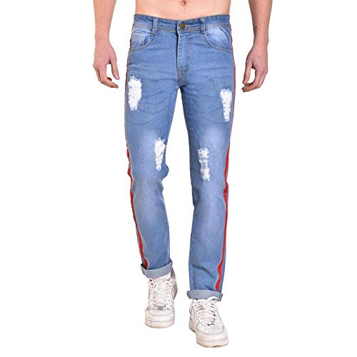 1b01f6e62e47c8 Mark Tailor Men's Casual Tapered Denim Jeans with Red Strip - Light Blue,30