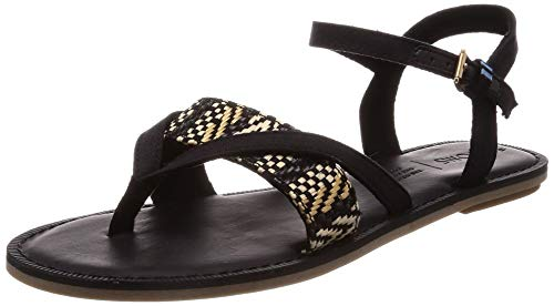 (TOMS Lexie Sandals Black Canvas with Geometric Woven Strap 10013303 Women's Size 6.5)