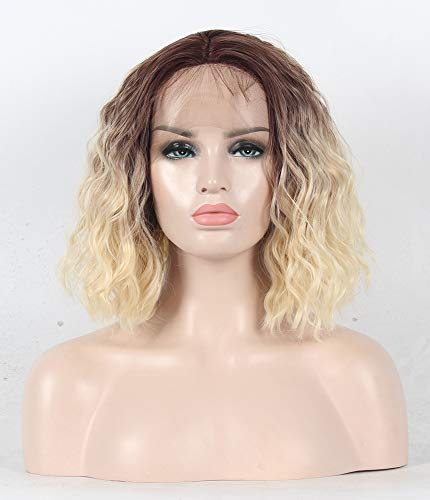 NO TANGLE Lace Front Synthetic Wig 200% Density short curly 2 Tones Blonde Ombre Brown Roots Synthetic Wigs for All Skin Women 12 Inch ()