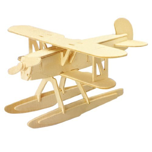 Dcolor 3D Woodcraft DIY Heinkel HE51 Plane Model Wooden Construction Kit Toy Gift