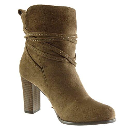Angkorly - Women's Fashion Shoes Ankle boots - Booty - cavalier - multi straps - fringe Block high heel 9 CM Khaki X4djijZW6