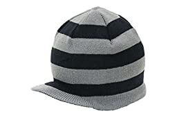 Born To Love Baby Boy\'s Stripe Beanie With Tag Baby Hat-Gray And Black-Xs( 6-12 Months)