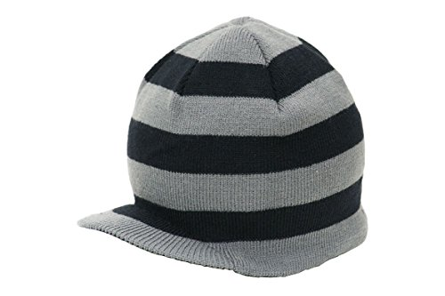 Three Stripe Beanie (Born To Love Boy's Stripe Beanie With Tag Baby Hat-Gray And)