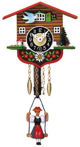 Mechanical Swinging Doll Clock Miniature, 4 Inch