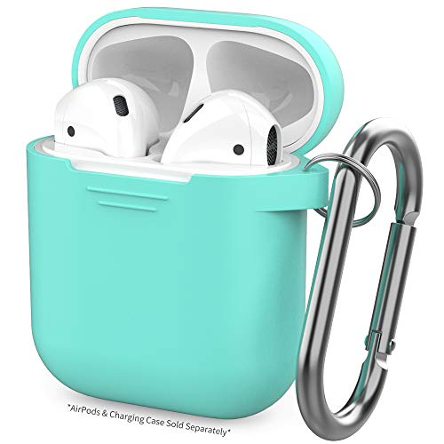 AhaStyle Silicone Case Protective Cover Skin Compatible with Apple AirPods 2 & 1 [Front LED Not Visible]- Mint Green ()