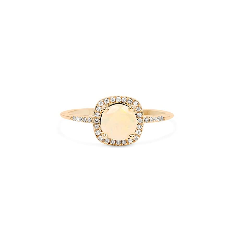 0.54 Carat Genuine Ethiopian Opal & White Diamond 14K Yellow Gold Ring Size 7