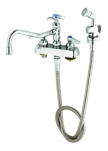 - T&S Brass B-1152 Workboard Faucet with Deck Mount, 8-Inch Centers, 8-Inch Swing Nozzle with Diverter, Hose and Spray Valve