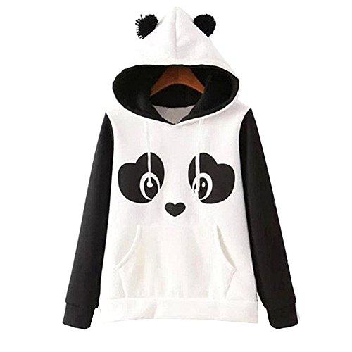 Cheap LAYs Women Panda Hoodie Long Sleeve Pullover Fleece Sweatshirts Hooded Coat Tops