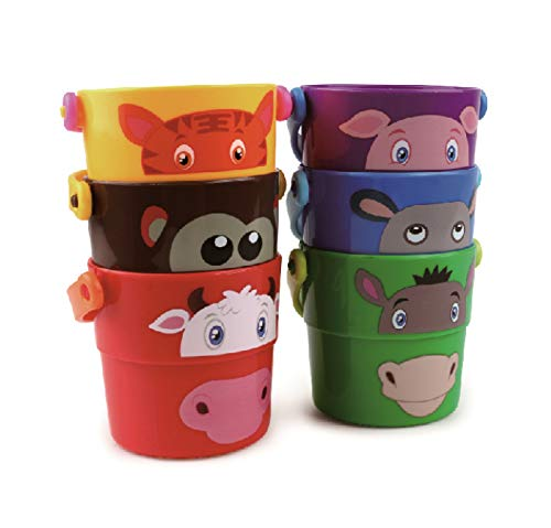 Original Water Play Bath Tub Stacking Buckets with Zoo Animals