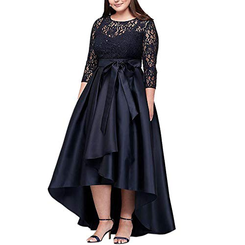Ike Chimbandi Plus Size High Low Prom Dresses with Half Sleeve A Line Lace  Prom Dress