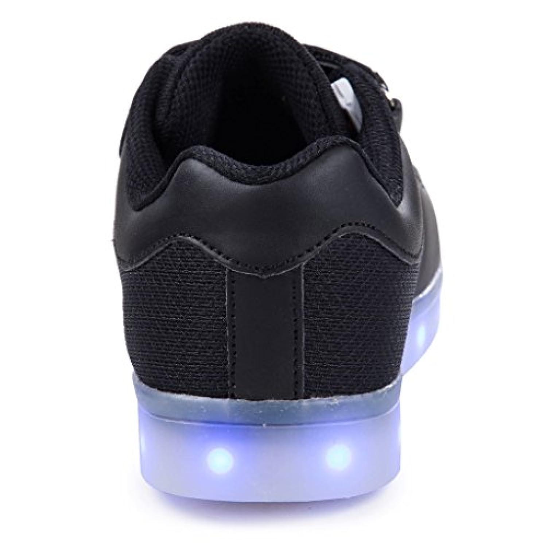 SAGUARO® Unisex Kid Boy Girl USB Charging LED Light Up Sport Shoes Luminous Flashing Running Sneakers for Summer, Black