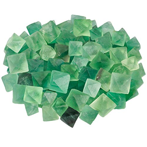 (SUNYIK Natural Green Fluorite Rough Stone, Rhombus Crystal Quartz Point for Tumbling,Cabbing, 0.7-1.3 inch, 0.5pound (About 230 Gram))