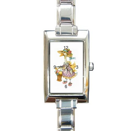 Girls Mother Goose with Basket of Eggs on a Rectangular Silver Italian Charm Watch. Think Small Wrist