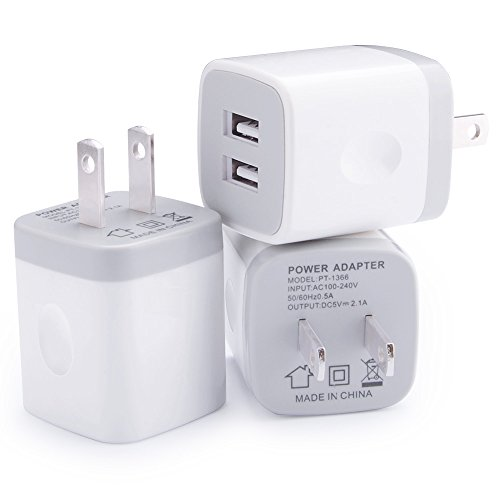 Wall Charger, Vifigen 3-Pack USB 2.1AMP Universal Power Home Travel Wall Charger Dual Port Plug for iPhone 7/7 plus 6/6 plus 5S 5 4S Samsung S5 S4 S3, Note 5, HTC, LG and More Device