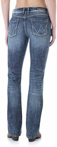 Wrangler Women's Premium Patch Mae Mid-Rise Jeans, Indigo Stonewash
