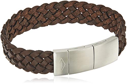 (Fossil Men's Brown Braided Leather Bracelet, One Size)