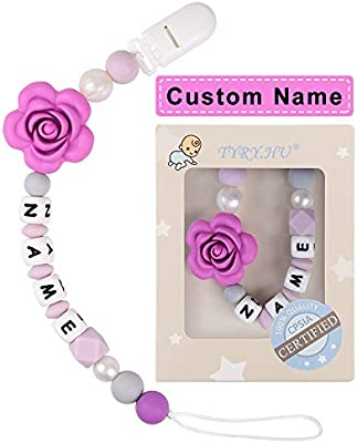 Pacifier Clip Personalized Name TYRY.HU Girls Binky Holder Baby Silicone Paci Clip BPA Free Chewable Beads Teething Relief Teether Toy Handmade ...