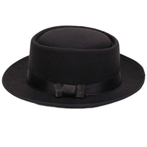 Damen Herren Cool Klassiker Jazz Hut Fedora Trilby Hut Blower Hüte mit Bowknot (Schwarz)