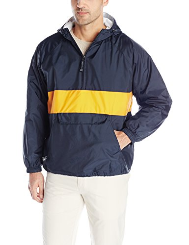Four Pocket Nylon Jacket - Charles River Apparel Unisex-Adult's Classic Striped Pullover, Navy/Gold, L