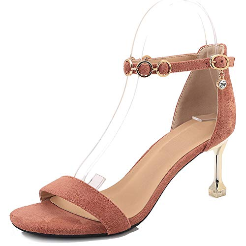Chaussures pour Talons Ouvert Cheville Femmes Hauteur Hauts Talon du 5 Dames rose Talon Sandales Cm Chaton Ruiren w8qd0Xz0