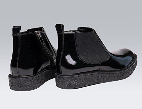 Herren Lederschuhe Winter Herren Martin Stiefel britischen Stil Schnee warme Baumwolle Stiefel High-Top-Schuhe Herrenschuhe ( Farbe : Weinrot , größe : EU44/UK8.5 ) Schwarz