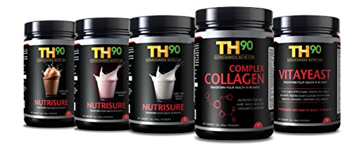 TH90 Kit - 3 Flavors Vanilla + Strawberry + Chocolate + Collagen + Brewer's Yeast - 1Lb. (16OZ) Nutrition Shake