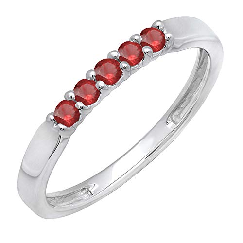 Dazzlingrock Collection 10K Round Ruby 5 Stone Ladies Anniversary Wedding Band Ring, White Gold, Size 7.5