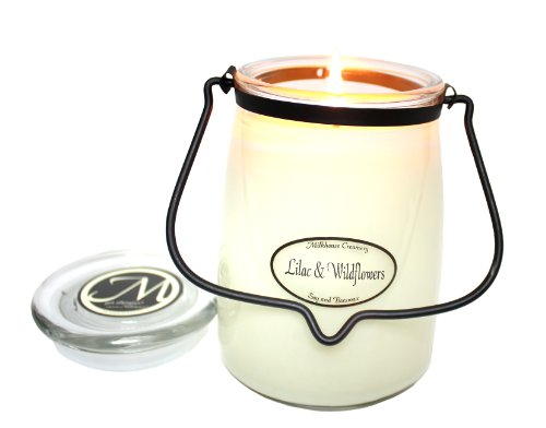 Milkhouse Candle Creamery Butter Jar Candle  Lilac And Wildflowers  22 Ounce