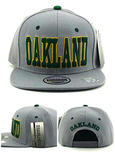 (Headlines Oakland New Leader Leader Blockbuster Gray Green Era Snapback Hat Cap)