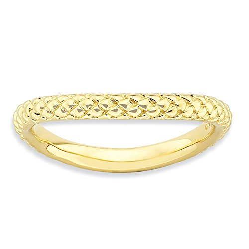 (Jewels By Lux Sterling Silver Stackable Expressions Polished Gold-plate Wave)