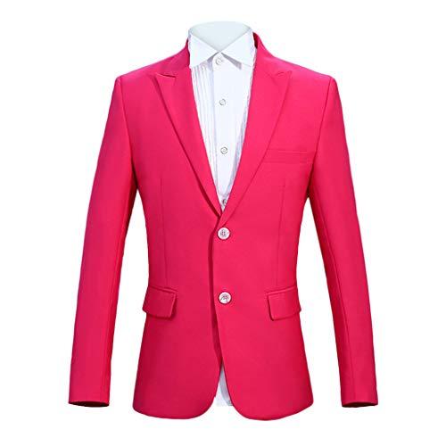 Birdfly Men Fashion Stripted Captain Performance Presenter Costume Formal Suit (2XL, Hot Pink) ()
