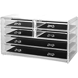 Deluxe 6-drawer Jewelry Chest or Cosmetic Organizer with Removable Drawers and Liners