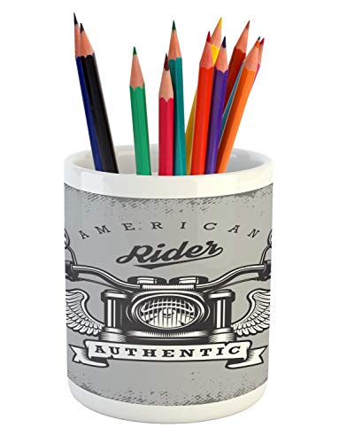 - Lunarable Route 66 Pencil Pen Holder, Classic Motorcycle Icon with American Rider Calligraphy Freedom Speed, Printed Ceramic Pencil Pen Holder for Desk Office Accessory, Pale Grey Charcoal Grey