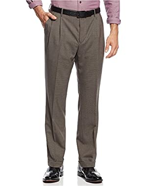 Mens Travel Wear Wool Pleated Dress Pants Brown Houndstooth 34W x 29L