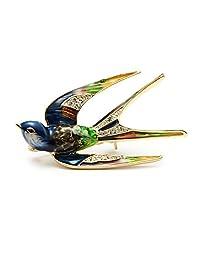 Wuli&Baby Classic Alloy Enamel Swallow Brooch Pins Metal Scarf Pins Gift